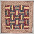 Quilt using rail fence pattern - featuring chickens -